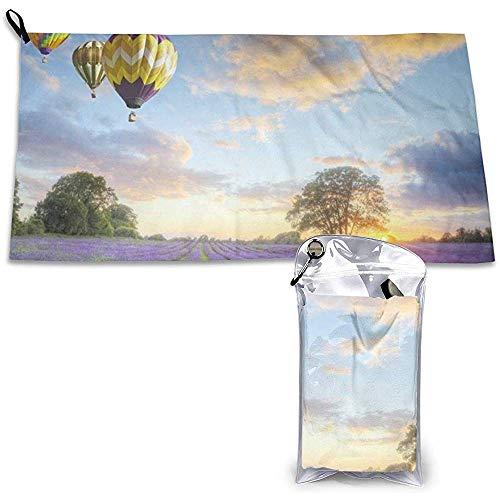 Hete lucht ballonnen met lavendel patroon sport reishanddoek licht, compact, snel drogen, handdoek voor reizen