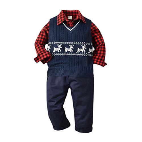 HANMAX 3tlg Baby Jungen Bekleidungssets Hemd + Hose +Strickweste Kinder Anzug Gentleman für Frühling Herbst