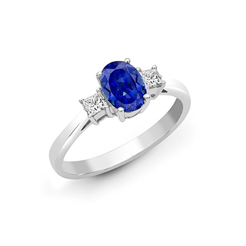 Jewelco London 18ct White Gold 4 Claw Princess 0.2ct Diamond and Oval Blue 1.35ct Sapphire Trilogy Engagement Ring 7mm, Size N