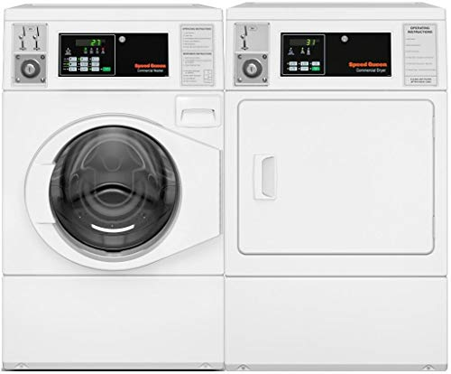 Speed Queen Front Load ADA Compliant SFNNCASP115TW01 27' Washer with SDENCAGS173TW01 27' Electric Dryer Laundry Pair in White