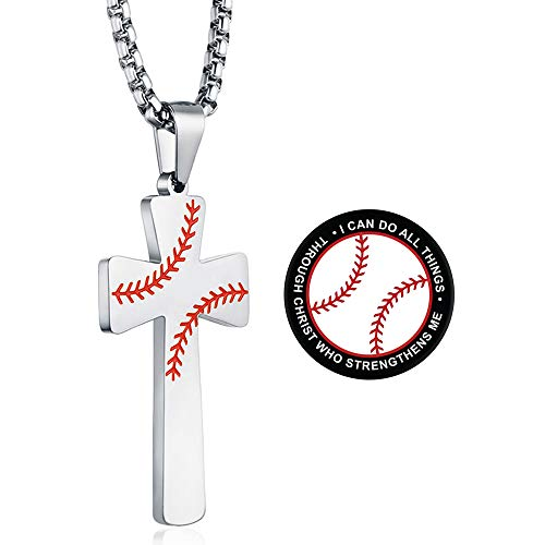 XIEXIELA Baseball Cross Pendant. I CAN DO All Things Strength Bible Verse Stainless Steel Necklace for Men Boy Cell Phone Holder Silver
