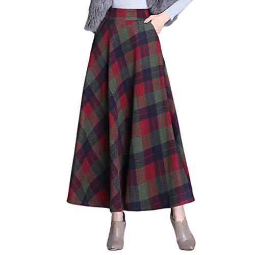 Byqny Wolle Retro Elegante Winterkleider Damen Vintage Karierter Maxi Winterkleid Rock Knielang Röcke Midi Gestreifter Stufenrock Flared Lang Röcke 6# rot grün XL
