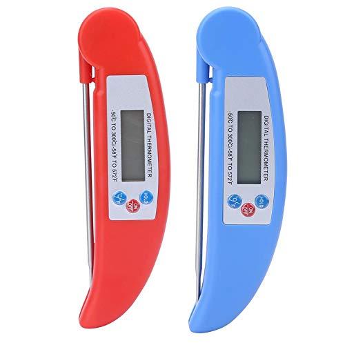 Thermomètre de Cuisson Thermomètre numérique avec écran LCD à Longue sonde Anti-Corrosion pour la Nourriture Viande Vin BBQ Lait et Eau de Bain(Bleu)