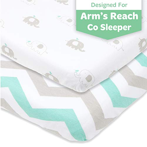 Cuddly Cubs Arms Reach Co Sleeper Sheets Fitted – 18 x 36 Cradle Sheets – Snuggly Soft Cotton – Fits Perfectly Without Bunching Up on Clear Vue, Cambria, Mini Ezee Bassinets – Grey, Mint