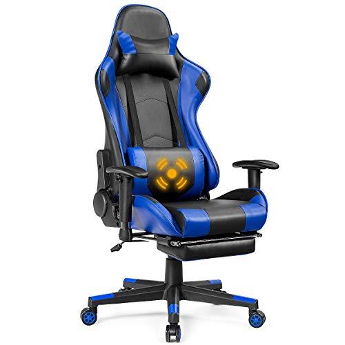Giantex Massage Gaming Chair, High Back Ergonomic Adjustable Reclining Racing Chair with USB Massage Lumbar Pillow, Headrest, Footrest, Lumbar Support, PU Leather Gaming Desk Chair (Blue)