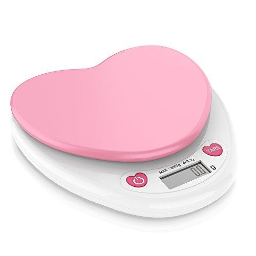 計量器 キッチンスケール 0.1g単位 はかり デジタル クッキングスケール 精密 電子天秤 0.1gから3.0kgまで コンパクト風袋引き機能 (ピンク)