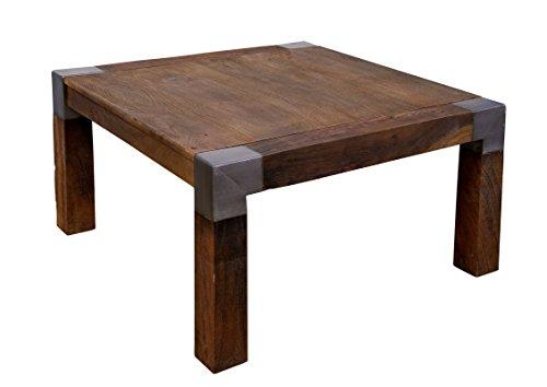 Table Basse carrée 85x85cm - Métal et Bois Massif de manguier laqué - Amsterdam #19