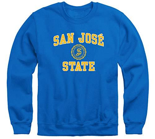 Ivysport San Jose State University SJSU Spartans Adult Unisex Crewneck Sweatshirt, Heritage, Royal Blue, Small