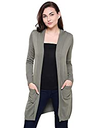 MansiCollections Green Hooded Cardigan for Women