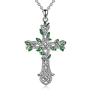 Cross Necklace 925 Sterling Silver Celtic knot Tree of Life Cross Necklace Pendant Gifts for Women Men