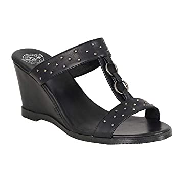 Milwaukee Leather MBL9450 Women s Black Studded Double Strap Wedge Sandals - 8