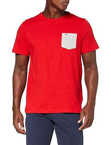 Tommy Jeans Tjm Contrast Pocket Tee T-Shirt, Cremisi Profondi, M Uomo