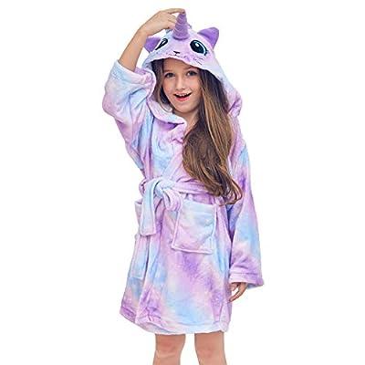 QtGirl Unicorn Kids Robe, Girls Bathrobe Fleece Sleepwear Hooded Sleep Robe for Boys and Girl Party Costume