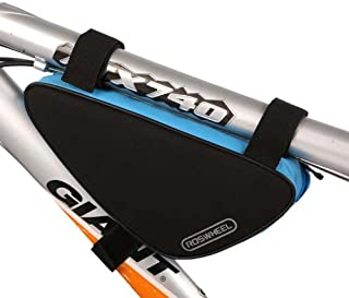 Roswheel Polyester Cycling Bike Bicycle Front Triathlon Frame Bag Pouch Velcro fixed Black+Blue