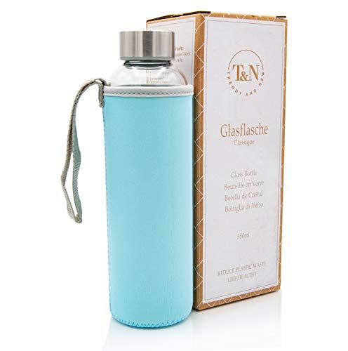T&N Botella de cristal de 550 ml – Botella de cristal con funda de neopreno – Botella de agua a prueba de fugas – Botella de cristal de borosilicato más grueso – Diseño delgado
