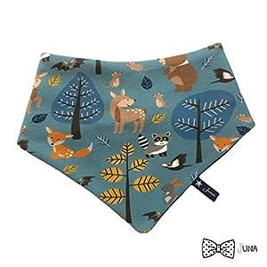 Dreieckstuch Waldleben Waldtiere blau Baby Kleinkind Kind Jersey Lätzchen Schal Loop Tuch Babytuch Füchse Rehe