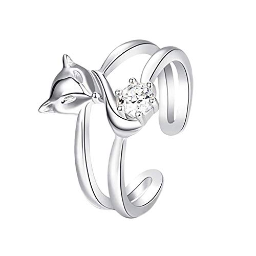 Fliyeong Premium Quality 1X Women Ring Jewellery Elegant Cute Fox Adjustable Open Ring Wedding Party Thumb Knuckle Ring