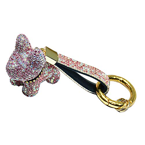 CHENNI Luxury Crystal French Bulldog Keychain, Lanyard Rhinestone Leather Strap Dog Keychains, Glitter Keychain, Keychain Accessories for Bag or Car Pendant or Cellphone (Pink in White)