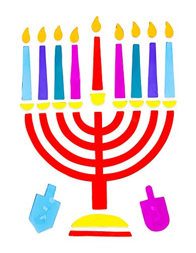 Izzy 'n' Dizzy Menorah Window Gel Cling - Self Sticking Chanukah Menorah and Dreidels - Hanukkah Party Decorations and Supplies