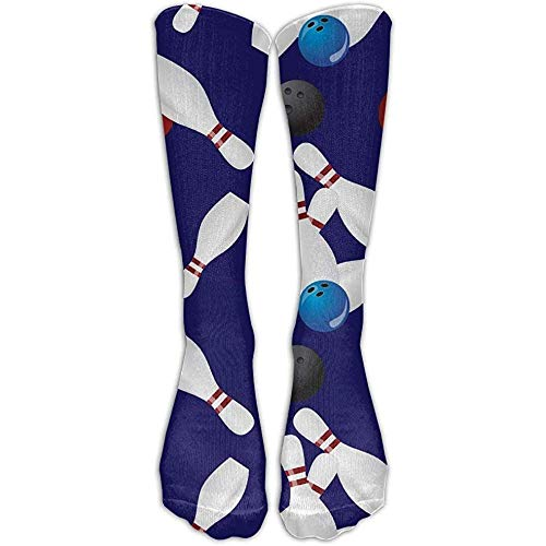 KL Decor herensokken, casual lange lopende hoge sokkenkousen bowlingkogel unisex middelste kuit-team-sport-slangen-knie-sokkencadeau-kous 50 cm