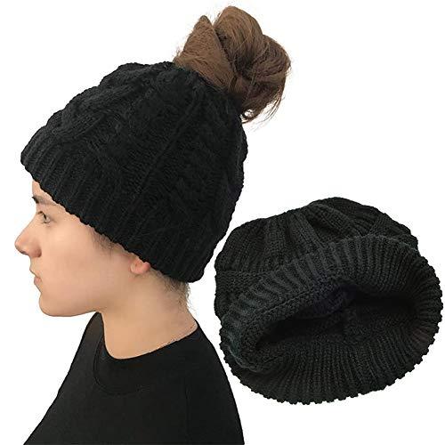 JPYH Gorro de Punto Mujer Sombreros de Invierno, 1 pcs diseño de Cola de Caballo Sombrero de Punto, Gorro de Cola de Caballo cómodo de Punto Suave, Gorra elástica para Mujer, de Invierno, a la Moda