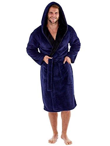 Harvey James -  Albornoz de forro polar suave con capucha y forro de contraste de 260g/m² para hombre