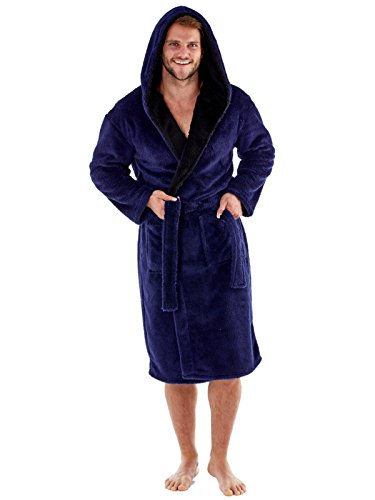 Harvey – Bata de forro polar suave con capucha y forro de contraste de 260g/m² para hombre azul azul L