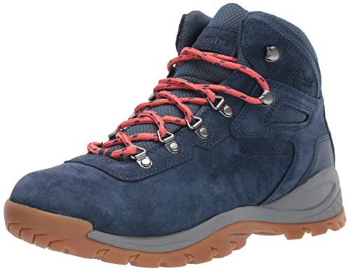 Columbia Women's Newton Ridge Plus Waterproof Amped Hiking Shoe, zinc, Coral, 5 Wide US