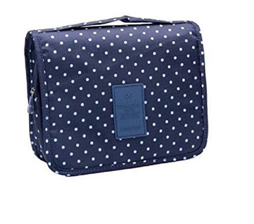 Bolsa de aseo / Organizador especialmente concebido para los viajes, el maquillaje y artículos de higiene personal - tamaño L (de lunares / Azul oscuro)