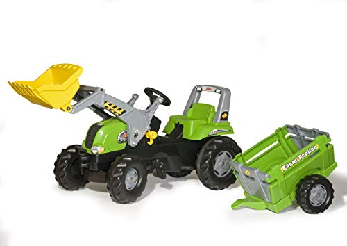 Rolly Toys rollyJunior RT Tretfahrzeug (mit Anhänger, für Kinder ab DREI Jahren, Flüsterlaufreifen, Verstellbarer Sitz) 812189, grün