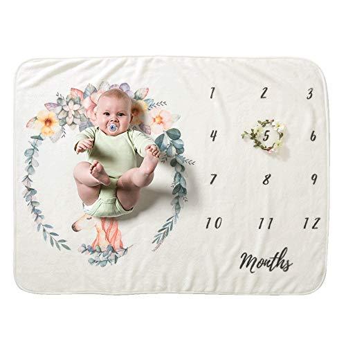 FZ FUTURE Nouveau née Couverture de Props de Photographie, Baby Props imprimé Coton Mensuel Milestone Wrap Swaddle Couvertures, Cadeau de Shower de bébé,B
