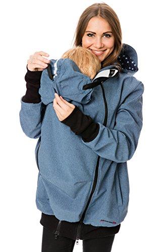 GoFuture Damen Tragejacke für Mama und Baby 4in1 Känguru aus Concordia Softshell + Baumwollmischung LOVEWINGS GF2395XB in Blau Melange mit hellblauen Sternen auf Marine