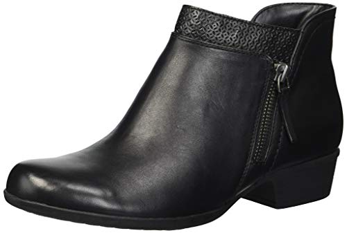 Rockport Women's Carly Bootie Ankle Boot, Black Leather, 7.5 M US