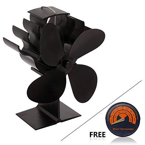 ACC warmtestraler met 4 vleugels, stille register van hout, brander, verwarming open haard, milieuvriendelijk, efficiënte warmteverdeling, zwart