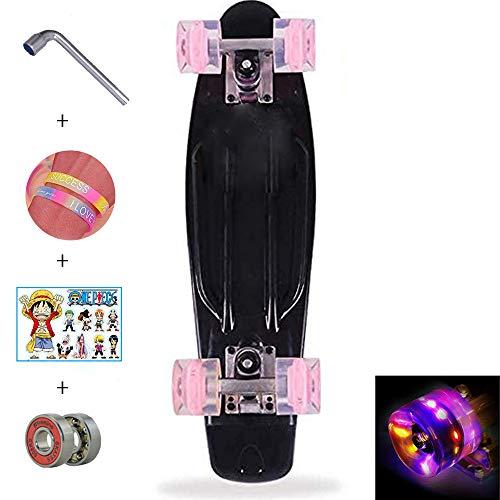 Hignful Penny Board, 22 Zoll Pennyboard Pastel Skateboard Erwachsene Für Kinder, Tragbares Cruiser Skateboard Mit Leuchtendem Rad, Für Teenager Anfänger Mädchen Jungen, Schwarz