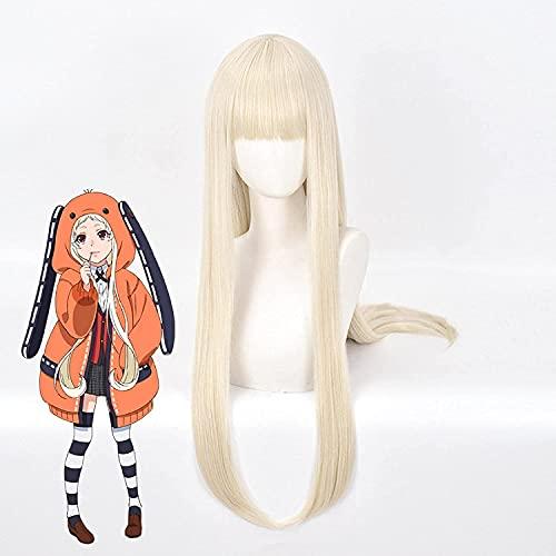 MixFactory Cos Peluca Anime Kakegurui Runa Yomozuki Peluca de Cosplay Peluca de Pelo Largo Rubio Claro Peluca de Coser