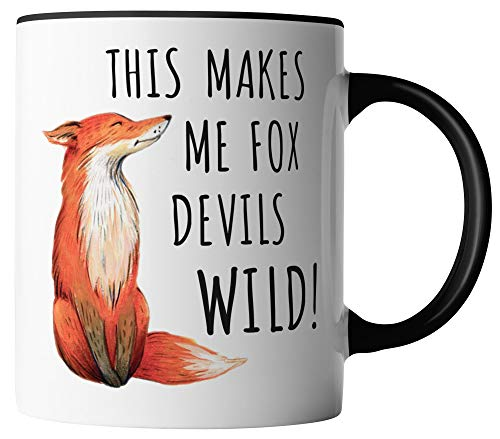vanVerden Tasse - This makes me fox devils wild! - Denglish Fuchs - beidseitig Bedruckt - Geschenk Idee Kaffeetassen, Tassenfarbe:Weiß/Schwarz