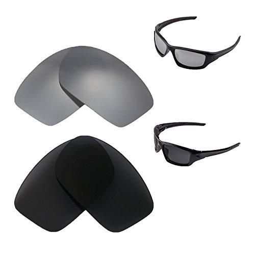 Walleva gepolariseerde Titanium + zwarte vervangende lenzen voor Oakley nieuwe klep (2014&Nter) zonnebril
