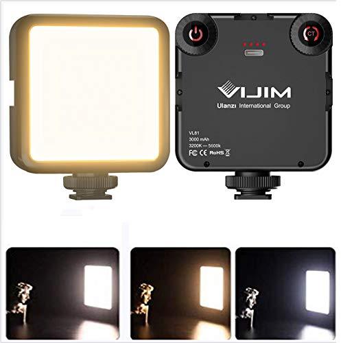 Mini LED Luce Video, VIJIM VL81 LED Luci Fotografia Dimmerabile, 3200K-5600K con 3000 mAh Batteria, Luce Pannello Universale per Smartphone DSRL Camera osmo pocket 2 3 OM 4 DSLR Macro Fotografia