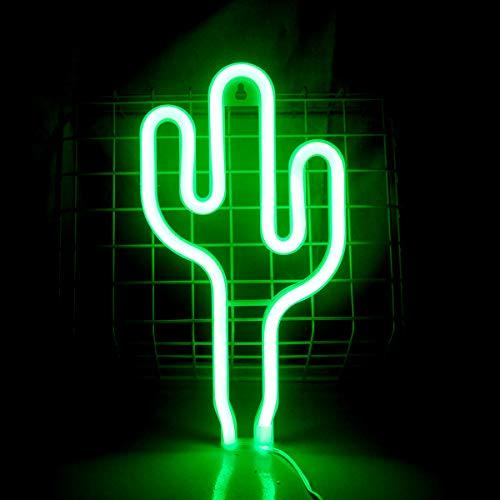 Cactus Letreros de Neón Luz de Neón Para Decoración de Pared Planta Verde Luces de Noche de Neón LED Lámpara de Neón Letrero para Niños Regalo de Cumpleaños de Navidad Suministros para Fiestas