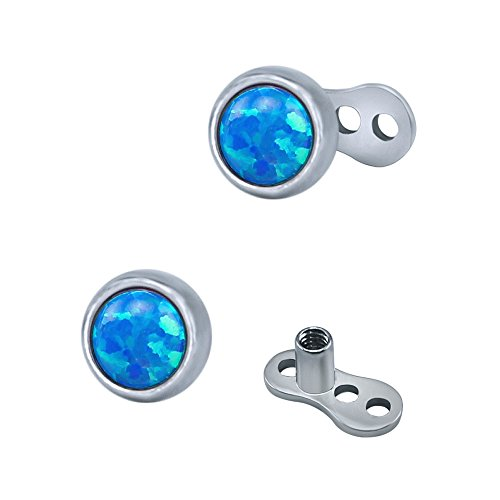 ZeSen Jewelry 2pcs 14g Opal Dermal Anchor Tops und Basischirurgenstahl innerlich verlegtes Microdermals Körperschmuck (2) Blau