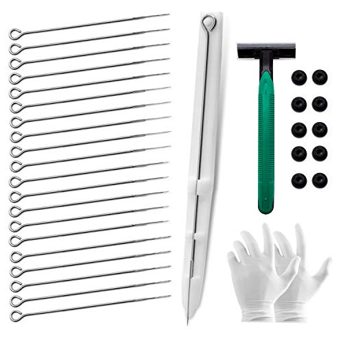 Chiitek Stick and Poke Tattoo Pen Kit White Poke Pen, 20 5RL/5RS /3RL/3RS Tattoo Needles.