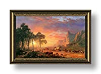 "Alonlineアート–Oregon Trail Albert Bierstadt Framedのコットンキャンバスホーム装飾壁アート博物館品質フレームをハングアップする準備フレーム 27""x16"" - 68x41cm (Framed Cotton Canvas) VF-BDT103-FCC0F05-1P1A-27-16"