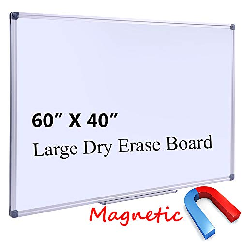 Large 60 x 40-in Magnetic Dry Erase Board with Pen Tray| Wall-Mounted Aluminum Message Presentation Memo White Board for Office Home and School, 60' x 40'