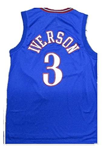 LIPENG NBA Jersey Mitchell Ness Allen Iverson # 3 Filadelfia 76ers Black Mesh Swingman Basketball Jersey Swingman Vintage Malla Bordada Jersey (Color : Blue, Size : XL)