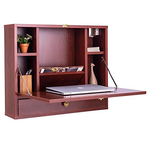 COSTWAY Wandtisch klappbar, Schreibtisch wandhängend, schwebender Wandklapptisch, Klapptisch mit Ablagefach und Schublade, Laptop-Tisch aus Holz, Computertisch multifunktional (Braun)