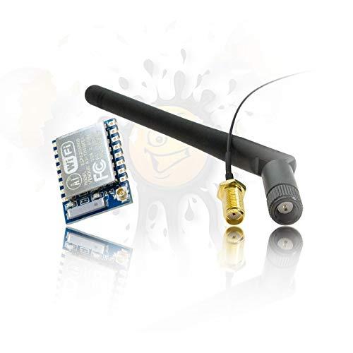 Orig. ESP8266 ESP-07 aktuelle Version mit 8Mbit Flash +24.5 dBm inkl. 3dbi Antenne + IPEX Adapter Wireless serial WLAN Wifi Modul für Arduino