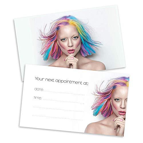 100 Hair Salon Appointment Reminder Cards, UV coates on the front - Writable back- Hair Salon, Hair Stylist, Hairdresser, Beauty Salon