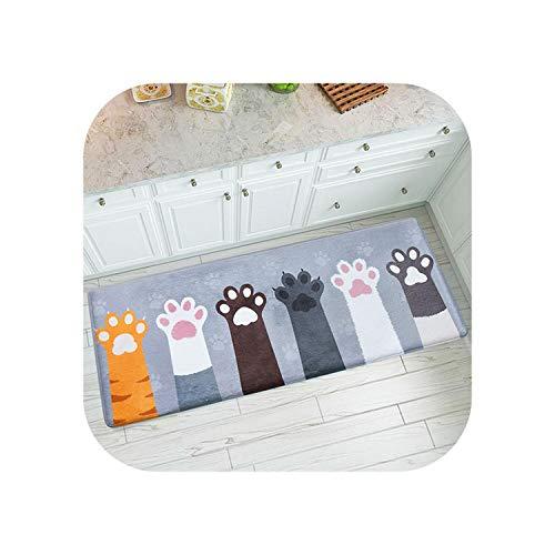 Fiery Tulip Geo Print Teppich |Niedliche Cartoon Bodenmatte Eingang Teppich Küche Rechteck Teppich Badezimmer Absorbierende Matte Schlafzimmer Bereich Teppich Eingang Mat-CatPaw-45X120cm (17.7x47in)