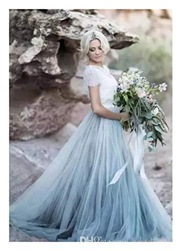 2018 Fairy Beach Boho Lace Soft Tulle Manga Corta Faldas Azul Claro Bohemia Boda Vestido de Novia (Color, Tamaño: 8)